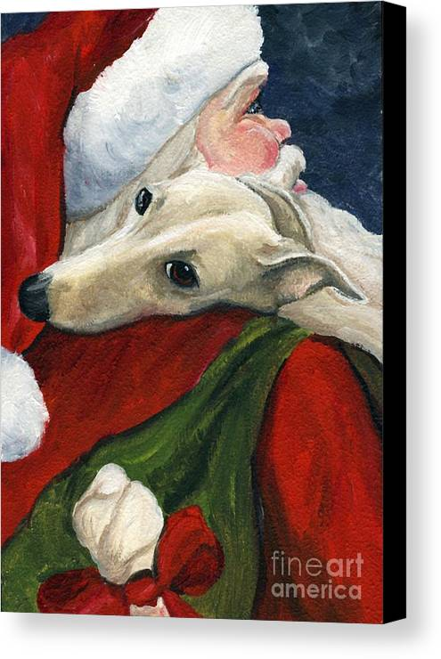 Dog Canvas Print featuring the painting Greyhound And Santa by Charlotte Yealey