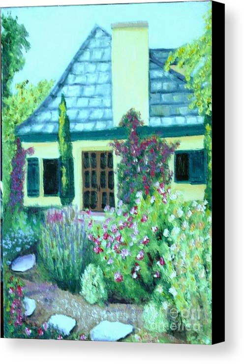 Cottage Canvas Print featuring the painting Guest Cottage by Laurie Morgan