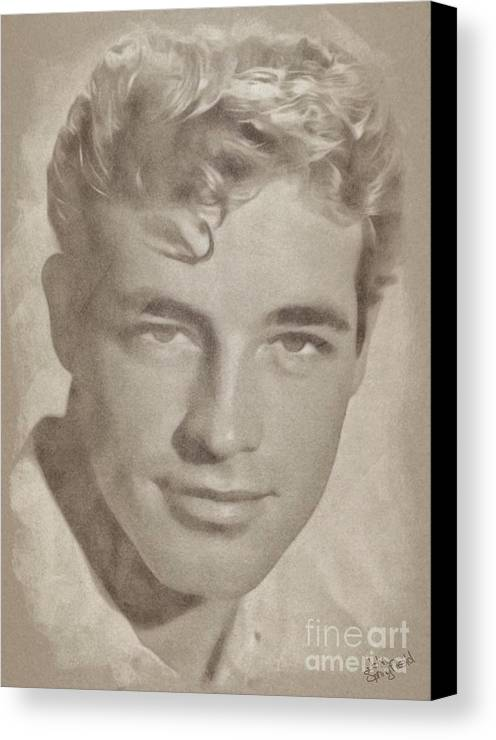 Classic Canvas Print featuring the pastel Guy Madison, Vintage Hollywood Actor by John Springfield
