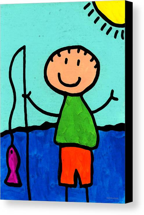 Childlike Canvas Print featuring the painting Happi Arte 2 - Boy Fish Art by Sharon Cummings