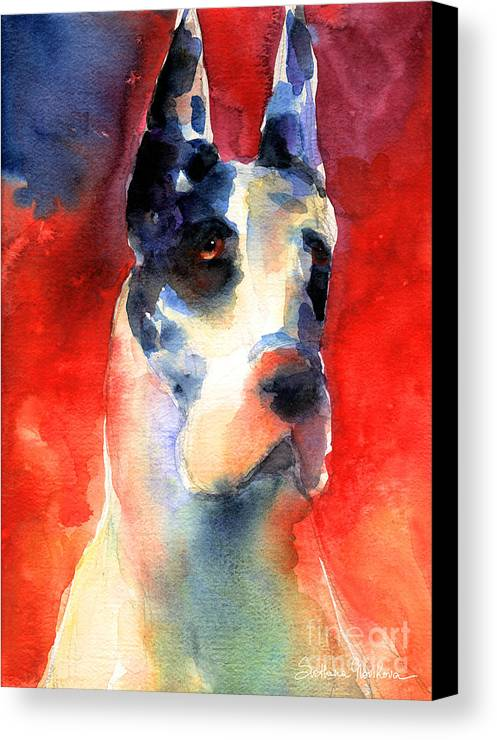 Great Dane Painting Canvas Print featuring the painting Harlequin Great Dane Watercolor Painting by Svetlana Novikova