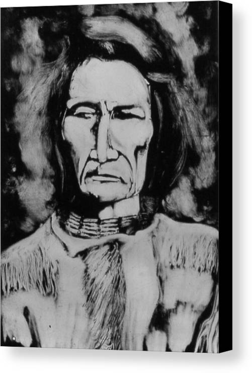 Western Art Canvas Print featuring the drawing He Has Seen Many Changes by Dan RiiS Grife