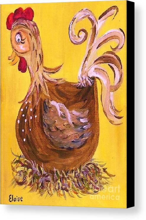 Chicken Canvas Print featuring the painting Hen Nesting by Eloise Schneider
