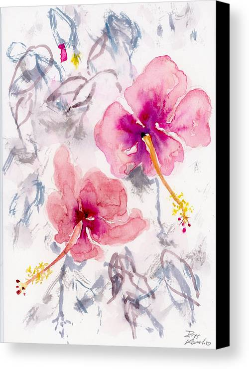 Watercolors Canvas Print featuring the painting Hibiscus 1 by Iris Kovalio