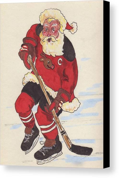Santa Canvas Print featuring the painting Hockey Santa by Todd Peterson