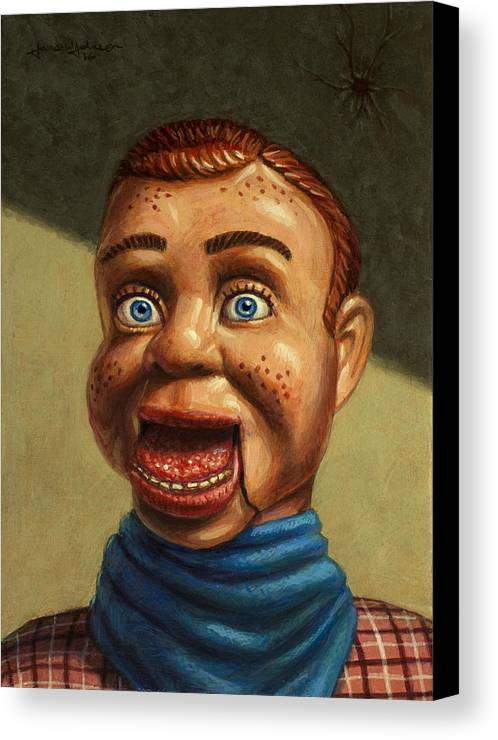 Howdy Doody Canvas Print featuring the painting Howdy Doody Dodged A Bullet by James W Johnson