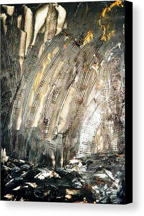Black Canvas Print featuring the painting Inferno by Bruce Combs - REACH BEYOND