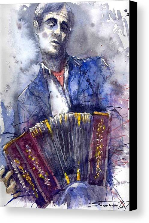 Jazz Canvas Print featuring the painting Jazz Concertina Player by Yuriy Shevchuk