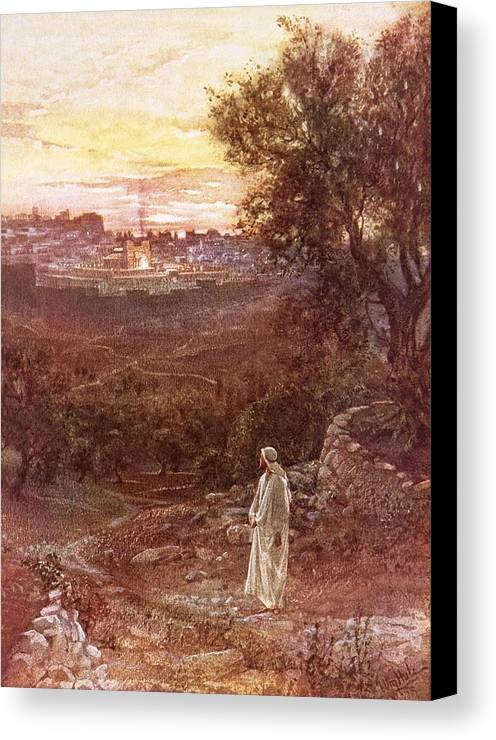 Bible; Jesus Christ; Mount Of Olives Canvas Print featuring the painting Jesus On The Mount Of Olives by William Brassey Hole