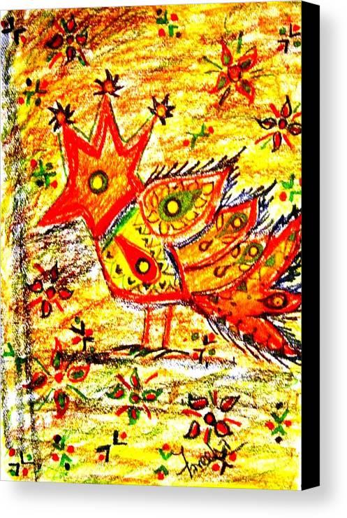 Contemporary Folk Canvas Print featuring the mixed media Jinga Bird II - Jinga Bird Series by Fareeha Khawaja