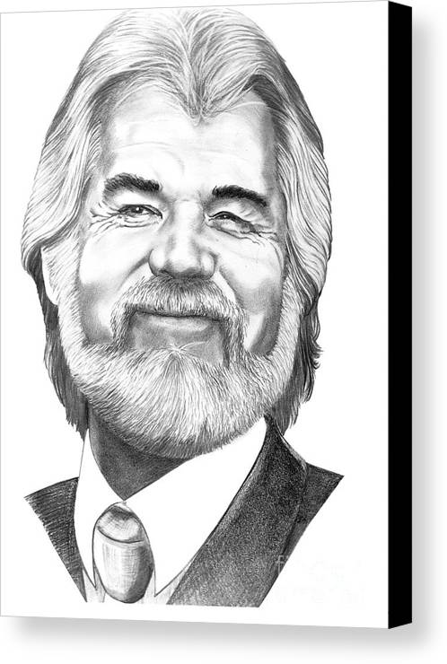 Music Canvas Print featuring the drawing Kenny Rogers by Murphy Elliott