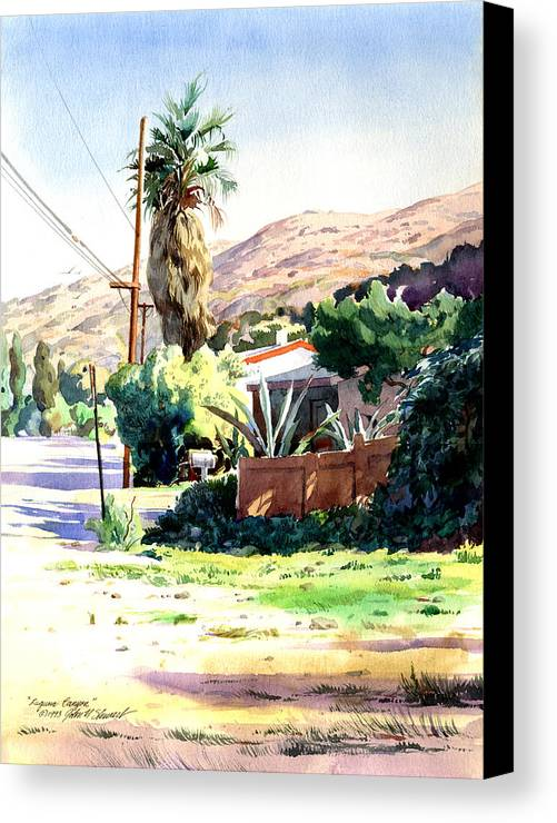 Watercolor Canvas Print featuring the painting Laguna Canyon Palm by John Norman Stewart