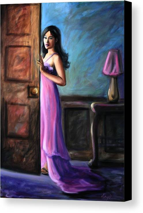 Woman Canvas Print featuring the painting Last Glance by Maryn Crawford