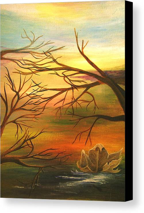 Landscape Canvas Print featuring the painting Last Leaf Of Fall by Vivian Mosley