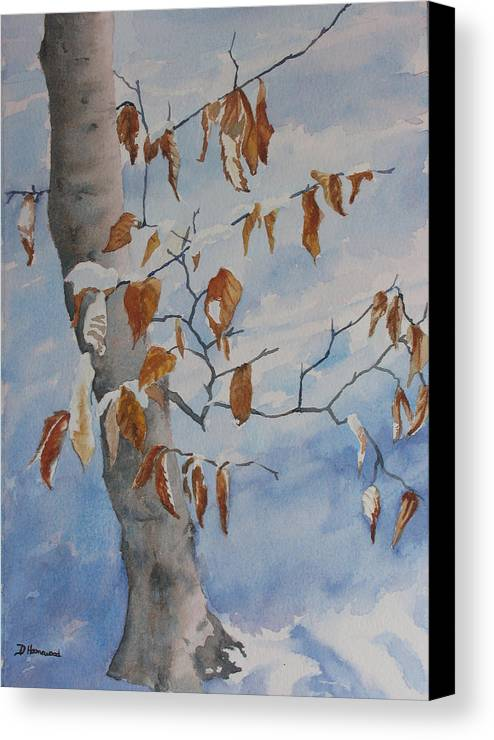 Beech Leaves Canvas Print featuring the painting Last Leaves by Debbie Homewood