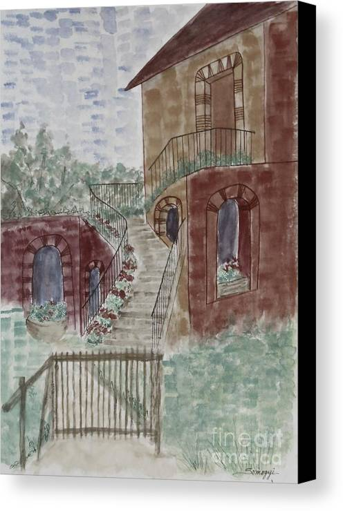 Architecture Canvas Print featuring the painting Let Them Eat Dark Chocolate Cake by Jayne Somogy