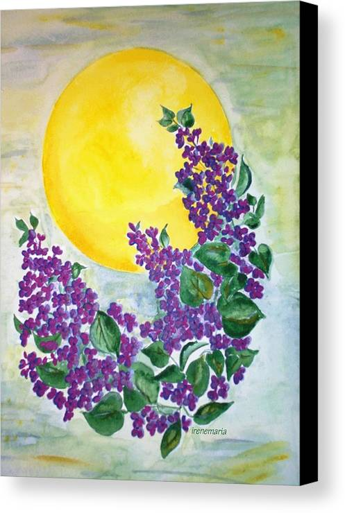 Lilacs In June Canvas Print featuring the painting Lilacs In The Midnight Sun by Irenemaria Amoroso