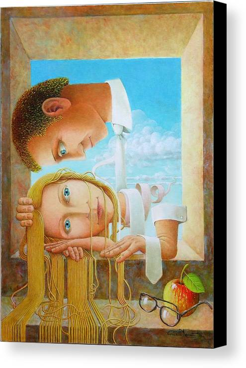 Love Canvas Print featuring the painting Lovers by Giuseppe Mariotti