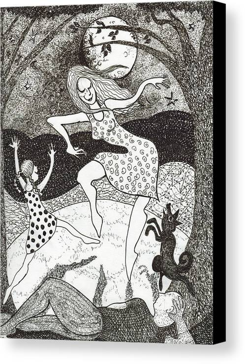 Pen And Ink Canvas Print featuring the drawing Mama Did The Moon Dance by Todd Peterson