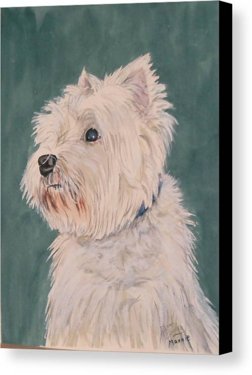 Dog Canvas Print featuring the painting Mannie by Diane Ziemski