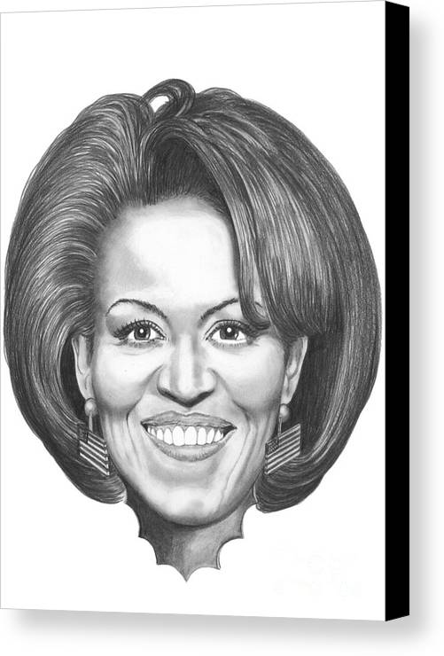 Drawing Canvas Print featuring the drawing Michelle Obama by Murphy Elliott