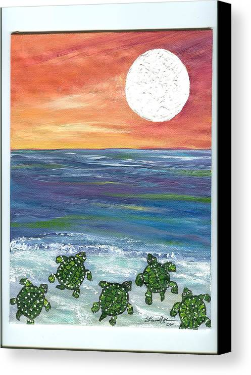 Turtles Canvas Print featuring the painting Moonlight Birthday Swim. by Laura Johnson