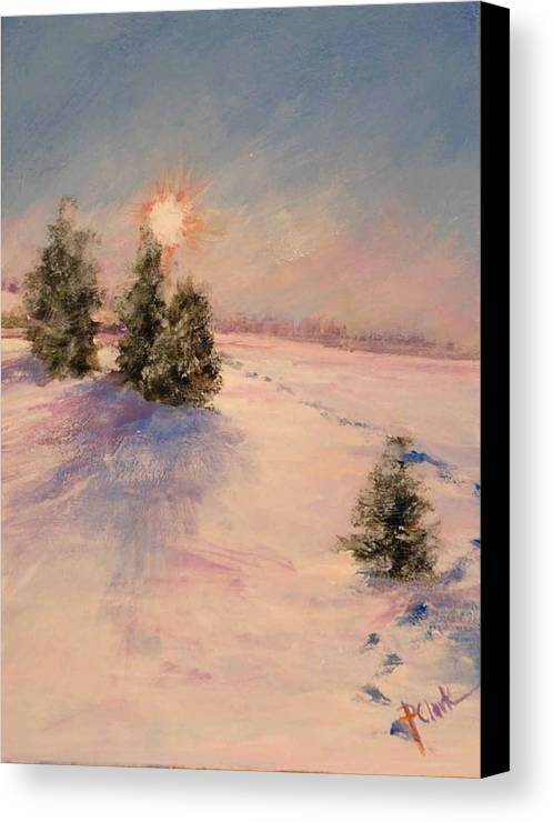 Sunrise Canvas Print featuring the painting Morning Frost by Donna Pierce-Clark