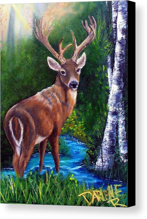 Deer Canvas Print featuring the painting Morning Walk by Darlene Green