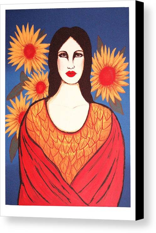Laura Lopez Cano Canvas Print featuring the print Mujer Con Flores by Laura Lopez Cano