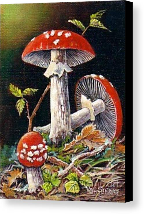 Mushrooms Canvas Print featuring the painting Mushroom Magic by Val Stokes