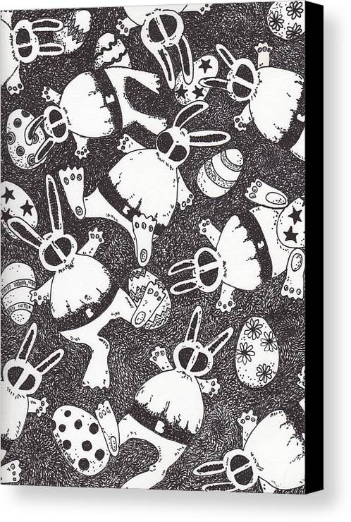 Rabbits Canvas Print featuring the drawing Mutant Easter Bunnies In Limbo by Todd Peterson