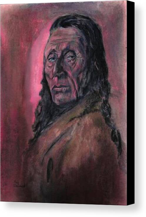 Native American People Portraits Profile Canvas Print featuring the painting Native American Study by Raymond Doward