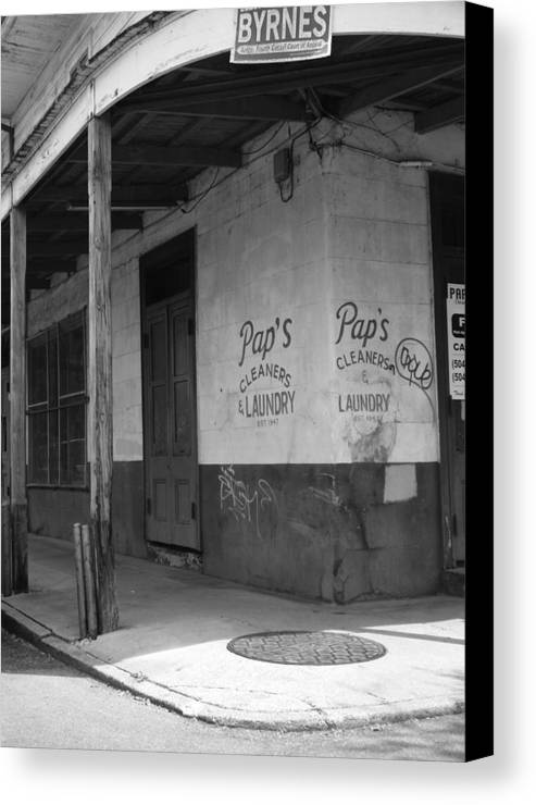 Black And White Canvas Print featuring the photograph New Orleans Street Corner by Rhianna Wurman