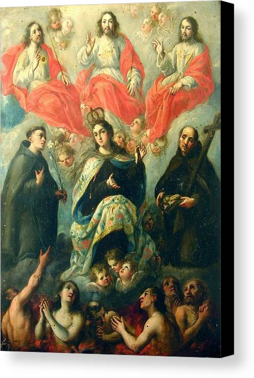 Religious Canvas Print featuring the painting Nuestra Senora Del Carmen by Unknown