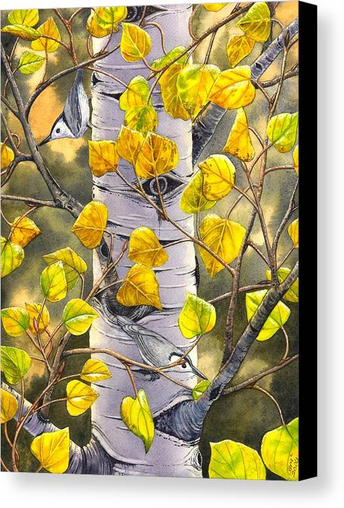 Nuthatch Canvas Print featuring the painting Nuthatches by Catherine G McElroy