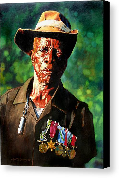 Black Soldier Canvas Print featuring the painting One Armed Soldier by John Lautermilch