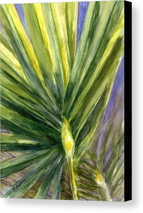 Palm Canvas Print featuring the painting Palm Frond by Marilyn Barton