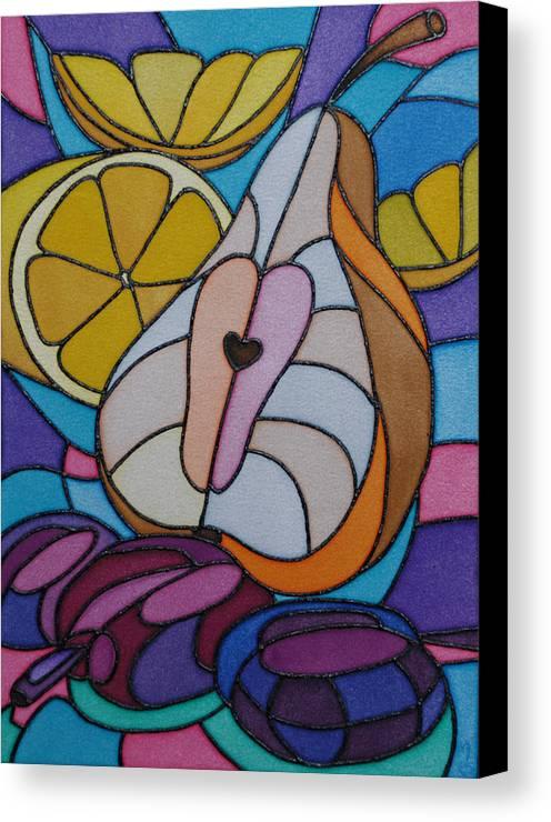 Still Life Canvas Print featuring the painting Pear And Plums by Tatiana Antsiferova