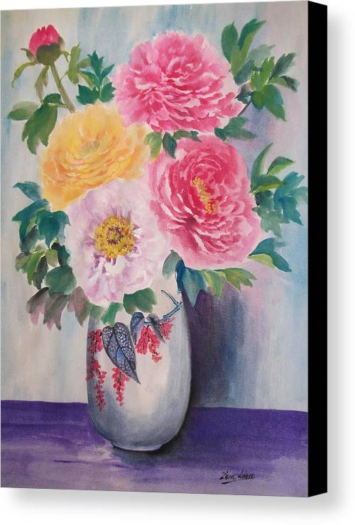Flowers Canvas Print featuring the painting Peonies by Lian Zhen