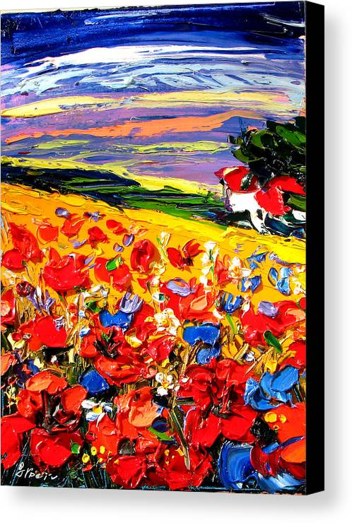 Artwork Canvas Print featuring the painting Poppies In The Spring Time. by Maya Green