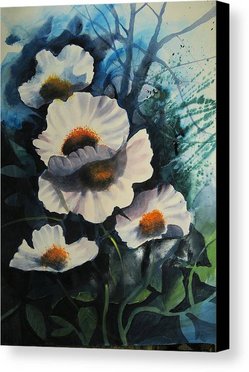 Floral Canvas Print featuring the painting Poppies by Robert Carver