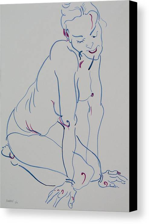 Woman Canvas Print featuring the drawing Pretty Nude Woman by Vitali Komarov