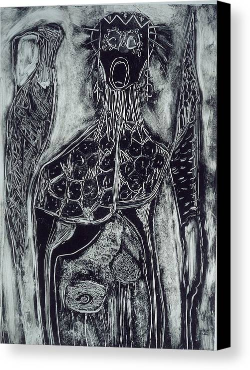 Primitive Canvas Print featuring the print Primal by Angela Dickerson