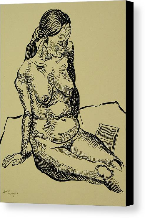 Woman Canvas Print featuring the drawing Reading Naked Woman by Vitali Komarov