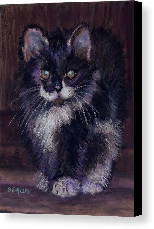 Kitten Canvas Print featuring the painting Ready For Trouble by Sharon E Allen
