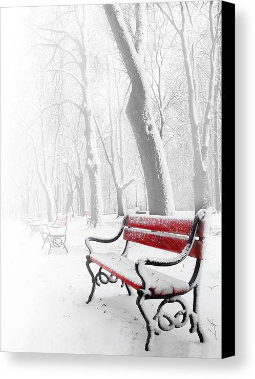 Beautiful Canvas Print featuring the photograph Red Bench In The Snow by Jaroslaw Grudzinski
