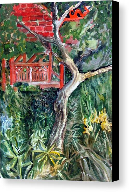 Watercolor Canvas Print featuring the painting Red Pagoda by Mindy Newman