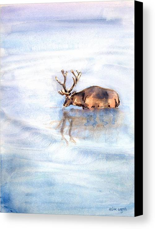 Elk Canvas Print featuring the painting Reflective by Arline Wagner
