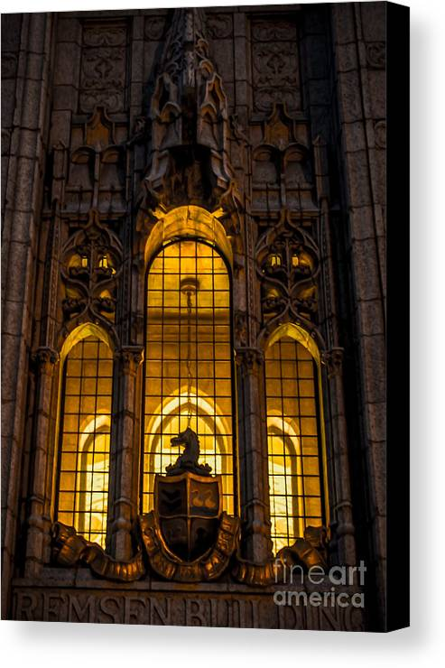 Windows Canvas Print featuring the photograph Remsen Building Window, Nyc by James Aiken
