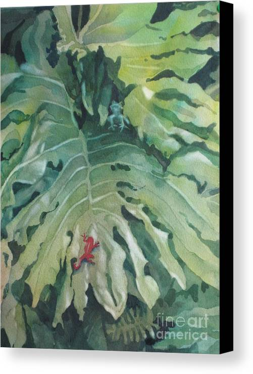 Frogs Canvas Print featuring the painting Rendezvous by Elizabeth Carr